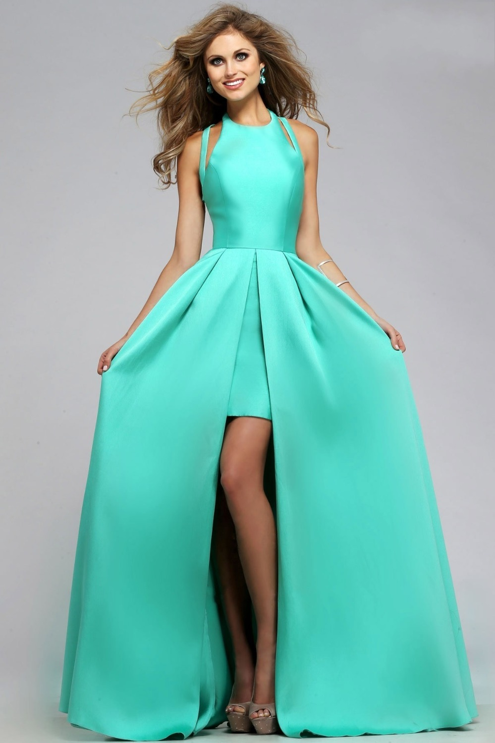 vestidos de gala Mint Green Prom Dresses Satin Long Floor Length ...