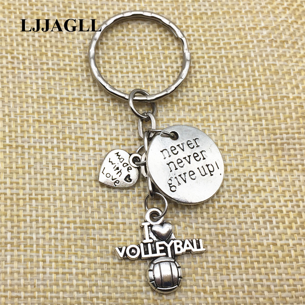 Trinket 2pcs Never Give Up Volleyball Love Key Chain Metal Keyring Silver I Keychain Jewelry Accessories