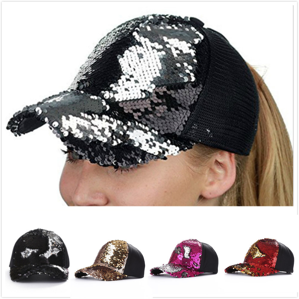 Female Like Unisex Fashion Women Outdoor Double Color Sequins   Baseball     Cap   Hat Adjustable Hip Hop   Baseball     Caps   Couple 10Dec10