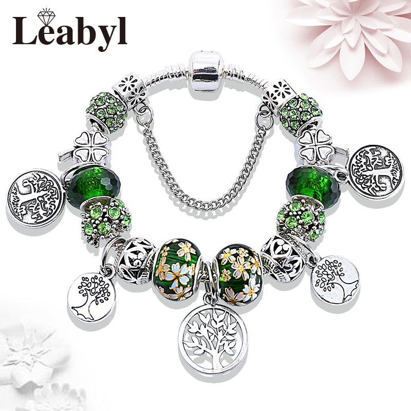 Dropshipping HOT Silver Tree of Life Fashion Bead Bracelet Green Leaf Floral Crystal Charms Bracelet & Bangle Pulsera Jewelry 1