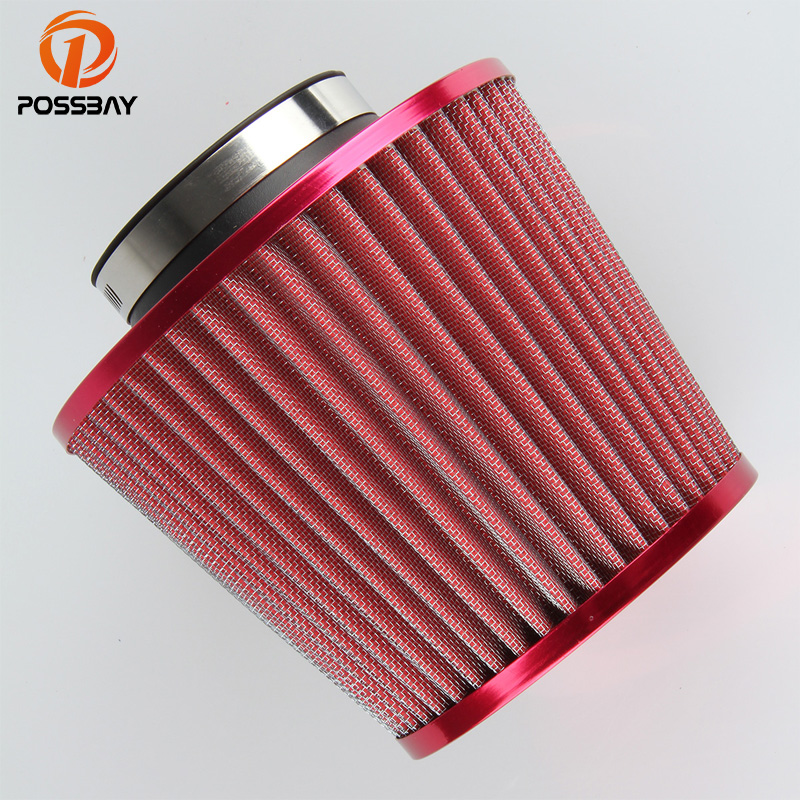 POSSBAY Universal Auto Vehicle Red Car Air Filter Cold Air Intake Filter Cleaner 75mm Air Intake Filter Turbo Hood Air Intake