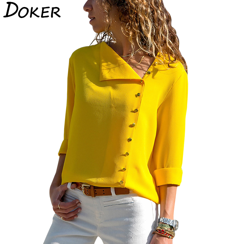 Women Tops And   Blouses   2019 Fashion Long Sleeve Skew Collar Chiffon   Blouse   Casual Tops Plus Size Elegent Work Wear   Shirt