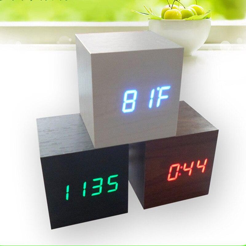 Cube wooden LED Alarm Clock,despertador Temperature Sounds Control LED display,electronic desktop Digital table clocks,SKU4A4A02