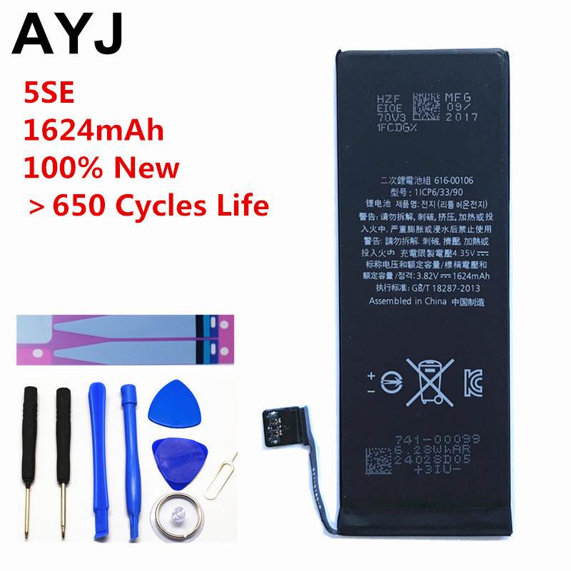 AYJ AAAAA Quality Battery for iPhone SE 5SE Real Capacity 1624mAh Zero 0 Cycle Free Repair Tools Kit Battery Tape