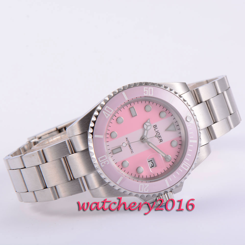 все цены на 40mm Bliger pink&white dial ceramic bezel deployment clasp sapphire glass date luminous automatic movement Men's watch онлайн