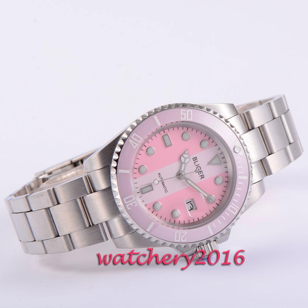 40mm Bliger pink&white dial ceramic bezel deployment clasp sapphire glass date luminous automatic movement Men's watch
