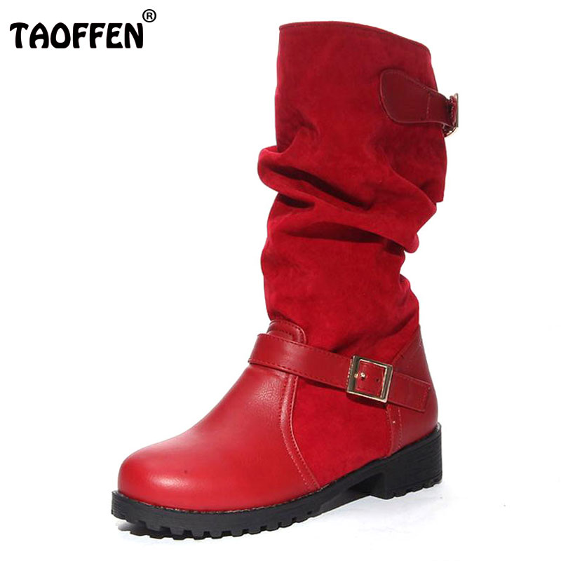 TAOFFEN Women Flat Half Short Boots Autumn Winter Warm Mid Calf Boot Bota Buckle Round Toe Quality Footwear Shoes Size 34-43 winter women boots basic fashion round toe comfortable flat shoes female footwear mid calf warm boots popular wholesale dgt674