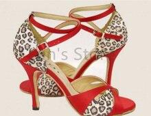 New Free Shipping  Leopard Open Toe Dance Shoe Ballroom Salsa Latin Tango Bachata Dancing Dance Shoes ALL Size