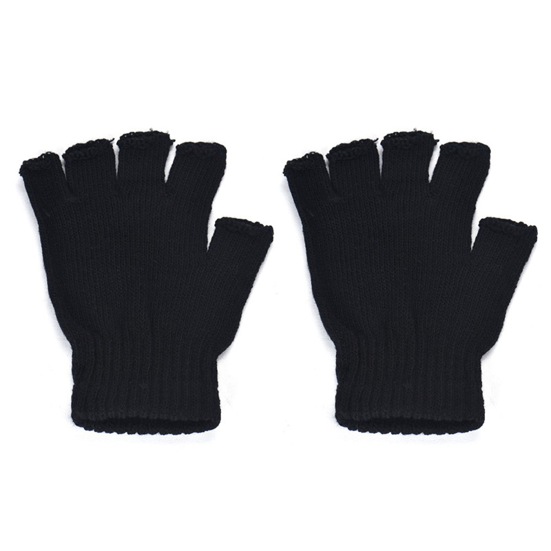 2017 New Winter Gloves 1 Pair Mens Black Knitted Stretch Elastic Thermal Warm Half Finger Fingerless Gloves Wholesale Golves Men's Gloves