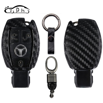 Carbon Fiber Car Key Case Cover For Mercedes Benz C E S Class GLK GLA W204 W463 W176 W203 W210 W211 W124 W202 W212 AMG BGA W205 image