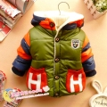 Children's clothing Baby boys  winter child thickening cotton-padded jacket Letter H plus velvet cotton-padded coat Outwear