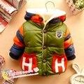 Infantil meninos roupas de Bebê espessamento criança inverno de algodão-acolchoado jacket Letra H além de veludo de algodão-acolchoado casaco Outwear
