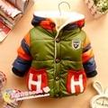 Ropa de los niños de los Bebés de invierno niño chaqueta de algodón acolchado engrosamiento Letra H, además de terciopelo chaqueta de algodón acolchado Outwear