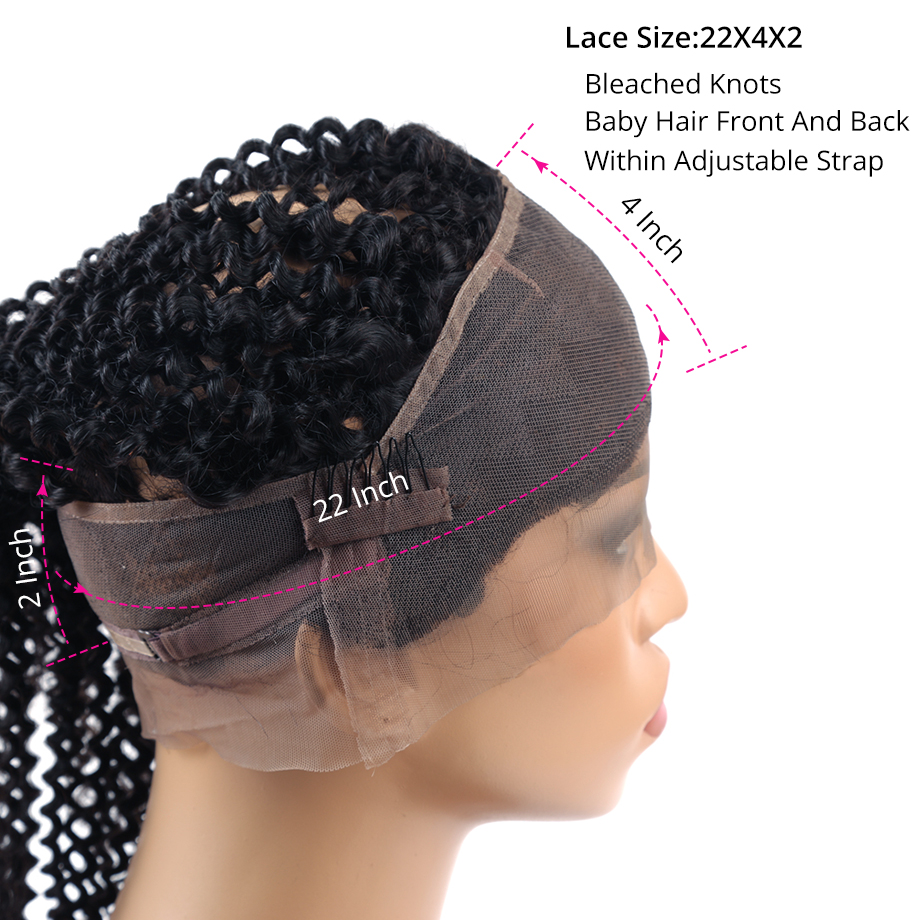変態カーリーバンドルによる前頭ブラジル 360 とバンドル人間の髪 3 バンドル前頭レミーヘアエクステンション  グループ上の ヘアエクステンション & ウィッグ からの 3/4 バンドル留め具付き の中 3