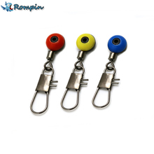 Rompin 20Pcs Space Beans Fishing Connector Float Connector Rolling Swivel Fishing Supplies with Box Carry Fishing Tackle tool