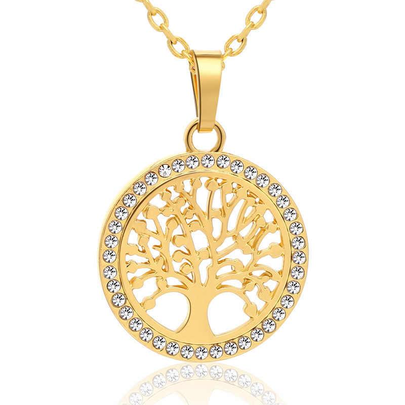 Hot Tree of Life คริสตัลรอบจี้สร้อยคอเงินสี Bijoux Collier Elegant ผู้หญิงเครื่องประดับของขวัญ Dropshipping