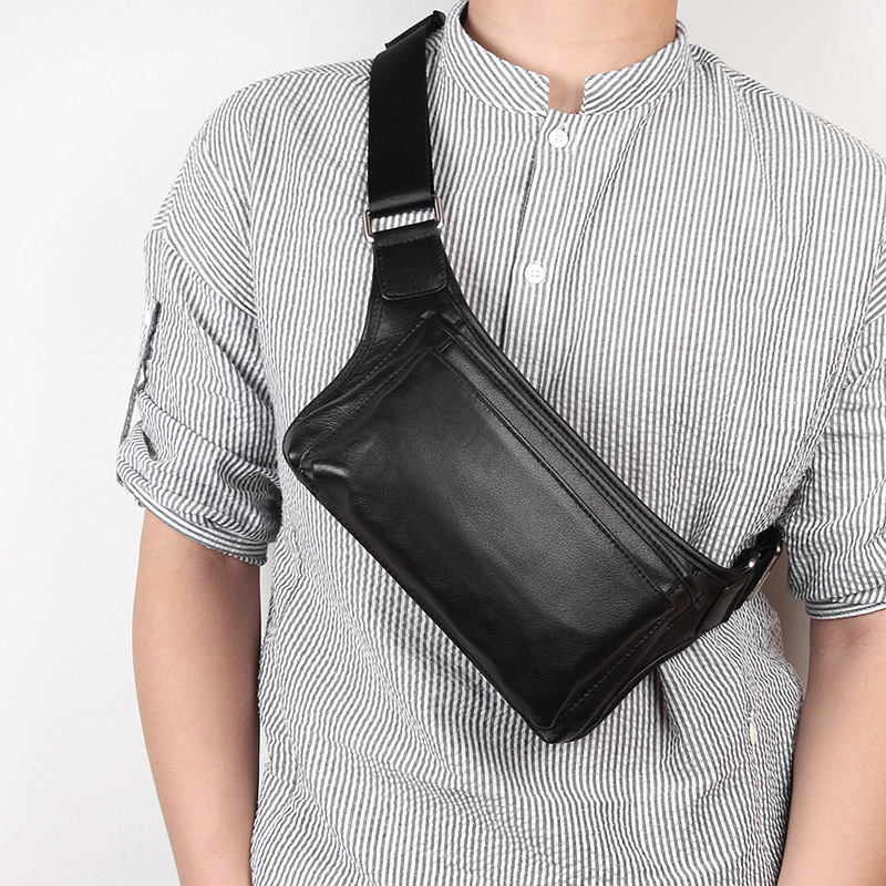Waist Bag for Men Fanny Pack Genuine Leather Male Small Waist Bags High Quality Travel New Vintage Phone Pouch Bags 3016A 3016Q in Waist Packs from Luggage Bags