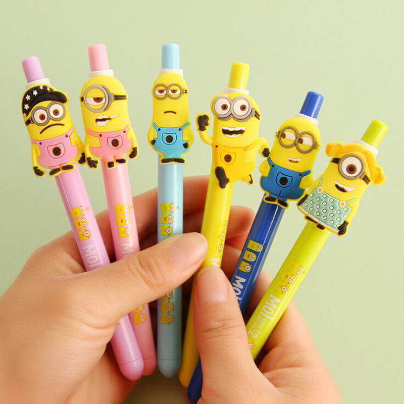 Q23 4X Cute Kawaii Minions Press Gel Pen School Office Supply Student Stationery Pens for Writing Kid Gift 0.5mm Black Ink