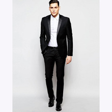 2017 Antony Morato Tuxedo Black Super Slim Fit Men Suit Custom Made mens suits Tuxedos Groomsman Wedding terno (jacket+pants)