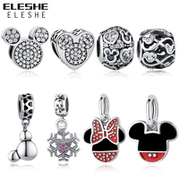 ELESHE Authentic 100 925 Sterling Silver Crystal Mickey Minnie Heart Bead Fit Pandora Charm Bracelet Original