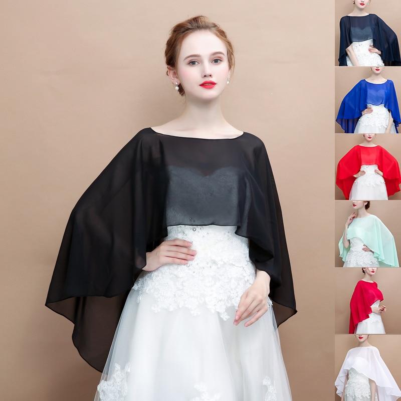Women Bridal Wrap Shawls Summer Chiffon Cape Bolero For Wedding Evening Dresses Elegant Bride Jacket Wedding Accessories