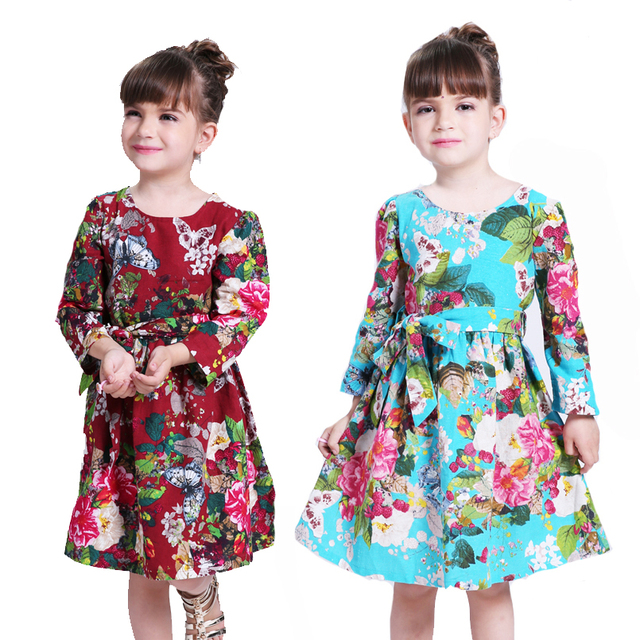 Girls Dresses Floral Cotton 2016 New Autumn Princess Dress 6 8 10 12 14 Years Girls Clothes Kids Party Dresses For Girl Vestidos