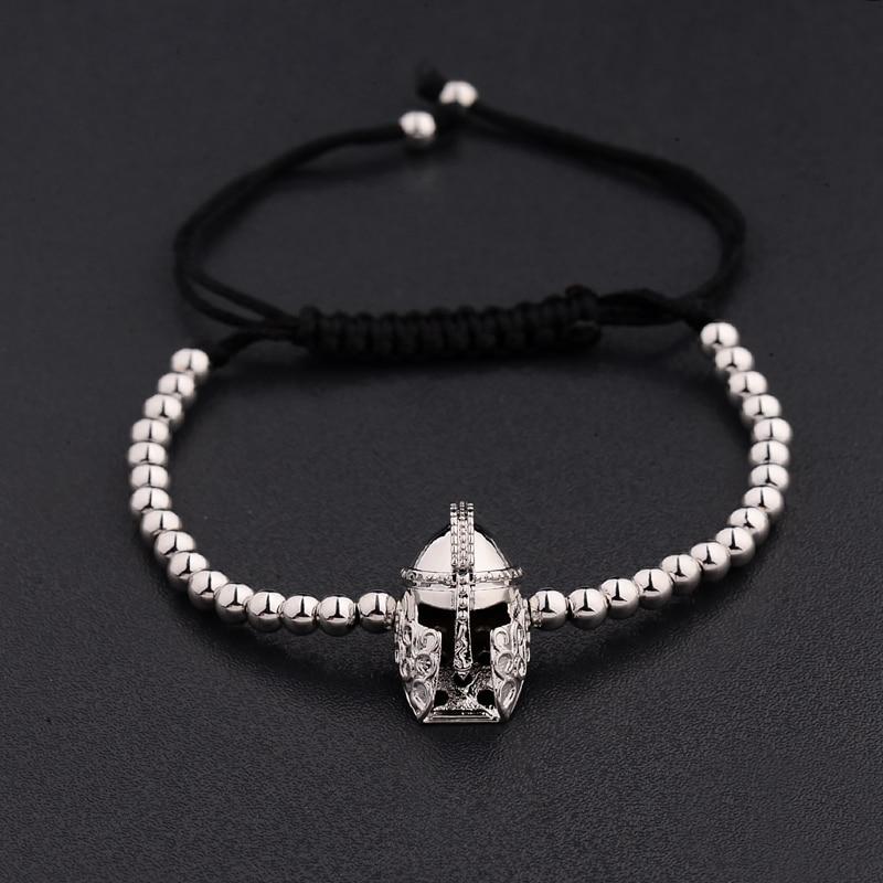 New Design Black CZ Stainless Steel Beads Braiding Buddha Bracelet Spartan Helmet Charm Bracelets For Women/Men Jewelry AB1016 2