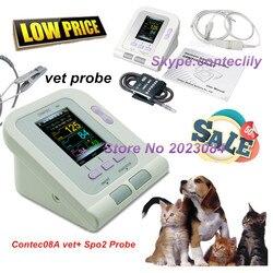 Monitor de pressão arterial digital contac08avet, punho de nibp 6-11cm, + sonda veterinária spo2 contec