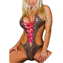 IMC Sexy lingerie leopard large size leather bikini swimsuit women pole dancing clothing