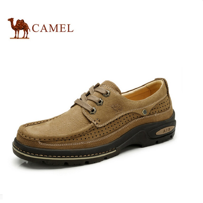 Camel Men Leather Shoes Lace-Up Men Casual Shoes New 2018 Breathable Male Footwear Spring Autumn A612090050 ege brand handmade genuine leather spring shoes lace up breathable men casual shoes new fashion designer red flat male shoes