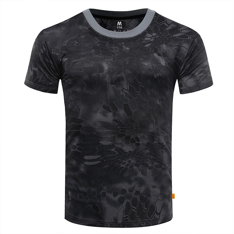 Shirt Python Dryfit Military Camouflage Compression Print Gym Men For Outdoor Camping