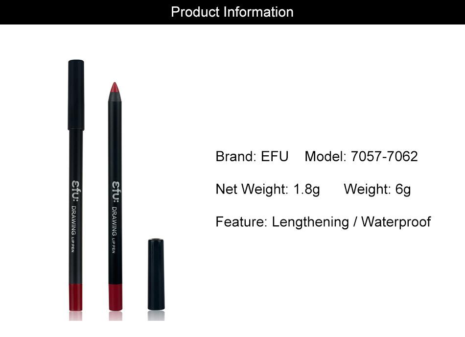 Waterproof Drawing Lip Pen 6 Colors Lip liner Long-lasting Lipstick 1.8g Lips Makeup Brand EFU #7057 6
