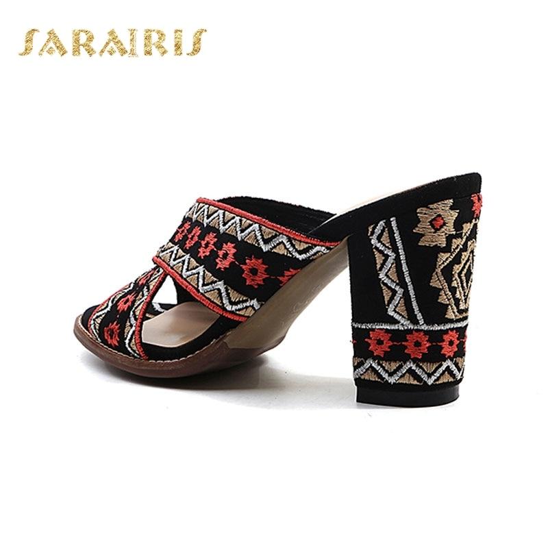 Chunky De Toe Alto Plataforma Sandalias Negro Sarairis Flor Verano Relieve Zapatos Mujer En Del Tacón Deslizador Peep Étnico Abierta América 7x4YqpwCX