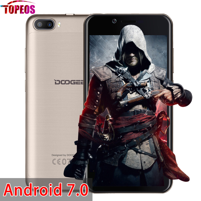 Android 7.0 DOOGEE SHOOT 2 Dual Rear Cameras Smartphone MTK6580A Quad Core 1GB+8GB 5'' HD 1280*720 Fingerprint ID Mobile Phone