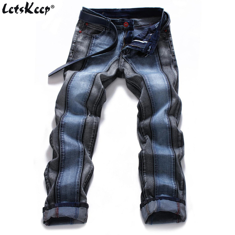 2018 mens Harajuku Stripe Denim Jeans casual biker slim Straight pants men blue Designer splice jeans 42 44 46 plus size, MA088