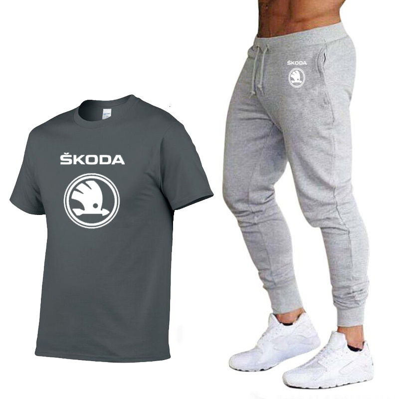 Fashion Summer Men T Shirts Skoda Car Logo Print HipHop Casual Cotton Short Sleeve High Quality T-shirt Pants Suit Men Clothing