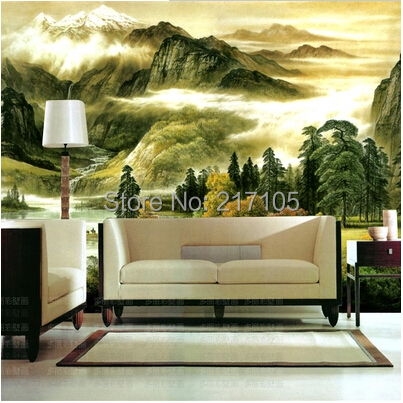 Custom retro wallpaper chinese painting landscapes 3d for Waterproof wallpaper for bedrooms
