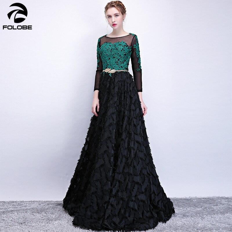 FOLOBE élégant Slim trois quarts manches longues robes de soirée une ligne glands vert dentelle femmes robe formelle Vestidos