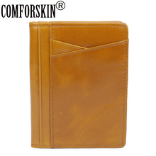 COMFORSKIN Premium Genuine Oil Waxing Leather Designer ID Card Case Unisex Credit Ultra Thin Card Holders Factory Price On Sale c20 id waterproof direct factory card