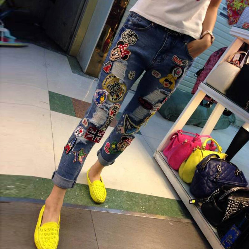 2017 Spring New Fashion Diamond Stitching Hole Ripped Jeans With Embroidery For Women Mid Waist Long Denim Trousers new fashion diamond embroidery genuine