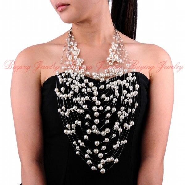 Привлекательный 2014 Осень Новый Дизайн Jewelry20 Слоистых 5 многоцветный Кластера Жемчужные Бусы Свадьба Кулон 52 см Долго ожерелье