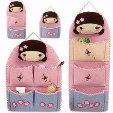 LDAJMW Linen Cartoon Little Girl 1-4 Pockets Folding Wardrobe Hang Closet Bag Wall Travel Organizer Home Storage