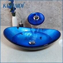 KEMAIDI ванная комната умывальник комбо комплект Закаленное стекло бассейна+ водопад Soild латунь кран синий раковина набор с всплывающим сливом