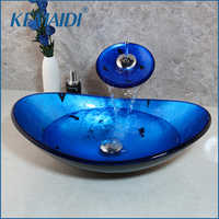 KEMAIDI Bathroom Wash Combo Kit Tempered Glass Basin + Waterfall Soild Brass Faucet Blue Sink Set with Pop Up Drain