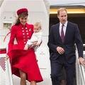 Red de Las Nuevas Mujeres Abrigo de Invierno El Mismo Diseño Kate Middleton Celebrity Bodycon Doble Foso Breasted Delgada