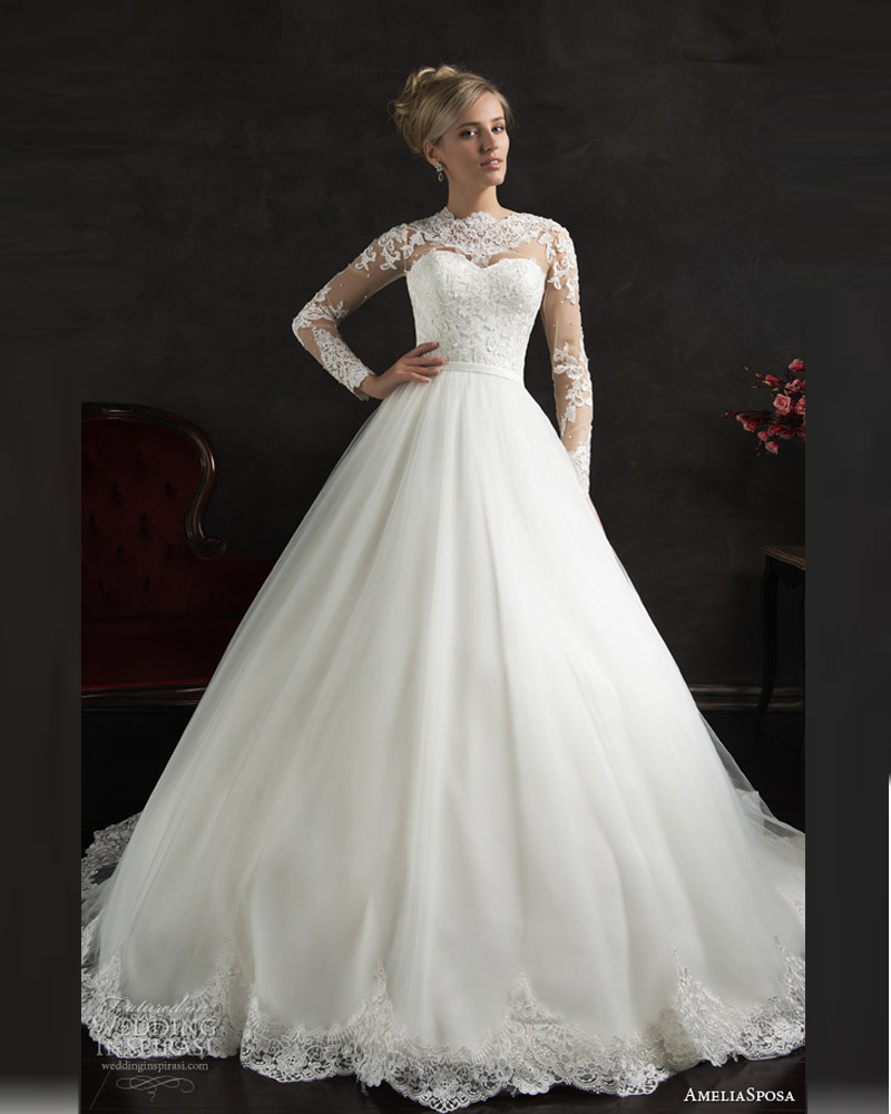 Affordable Wedding Gowns Online: High Neck Long Sleeve Wedding Dress White Online Cheap