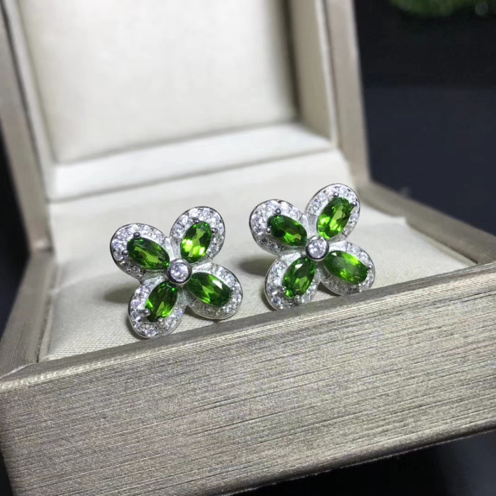 natural green diopside gem stud earrings 925 silver Natural gemstone earring women fashion elegant Clover Earrings