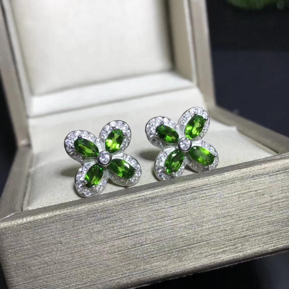 natural green diopside gem stud earrings 925 silver Natural gemstone earring women fashion elegant Clover Earrings fine jewelry-in Earrings from Jewelry & Accessories    1