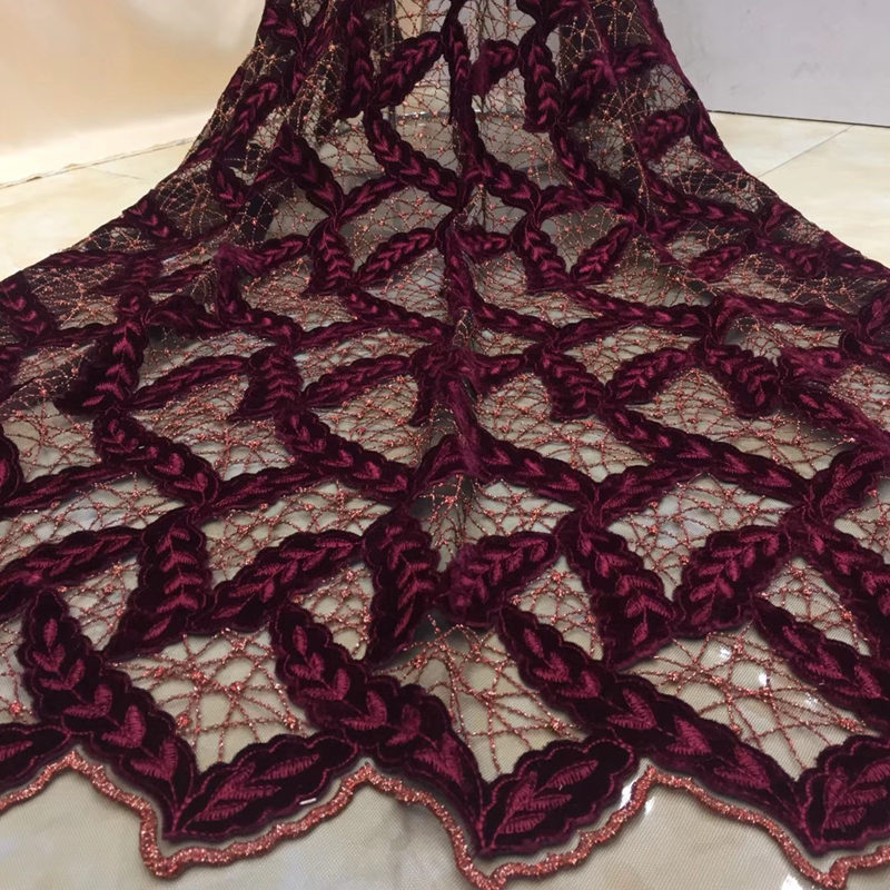 5yards pc high quality African party lace fabric gorgeous French net lace fabric with velvet
