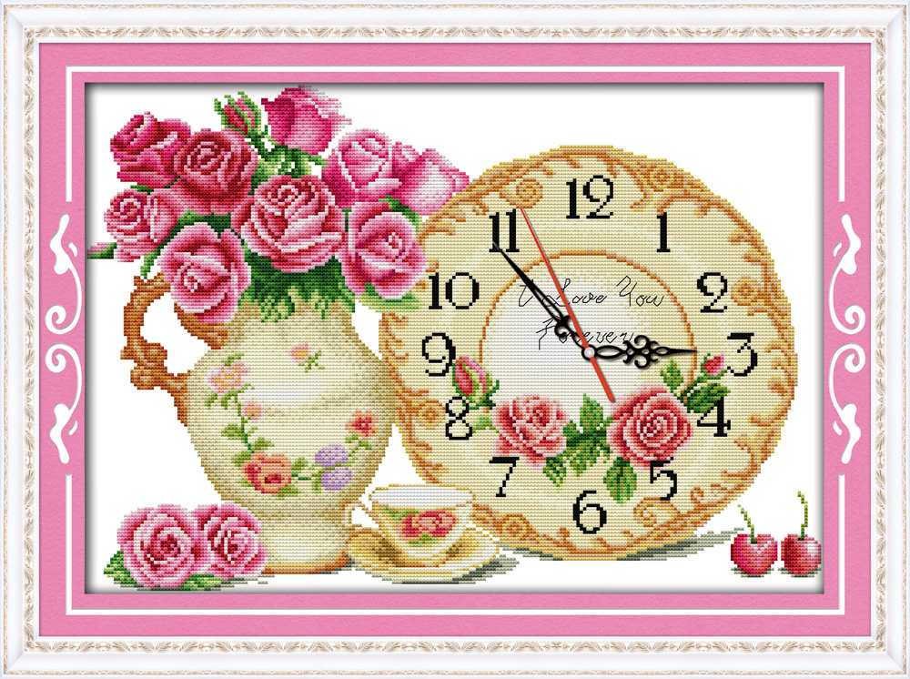 Fall in love at first sight cross stitch kit clock flower count print stamped 14ct 11ct hand embroidery DIY handmade needlework